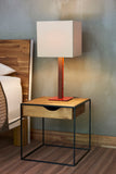 Light Pole Table Lamp, Beige Lampshade