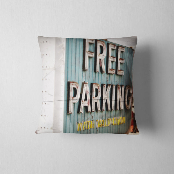 FREE PARKING Throw Pillow