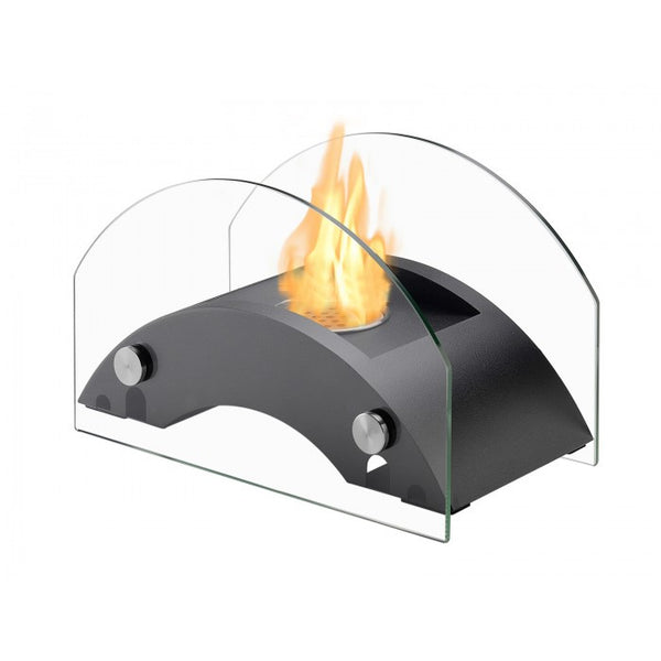 Curved glass tabletop fireplace