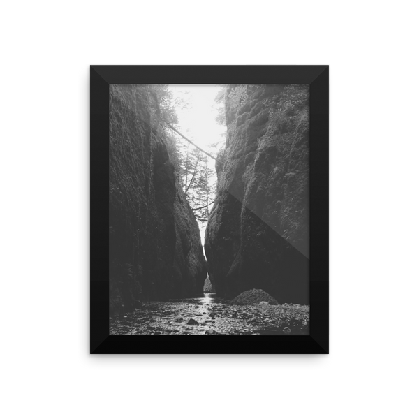 Framed B+W Print of Oneonta Gorge in Oregon