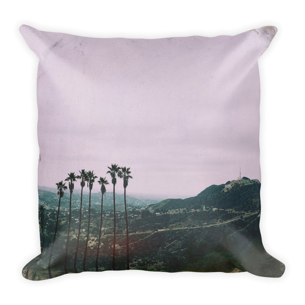 LA Palms + Hollywood sign Throw Pillow