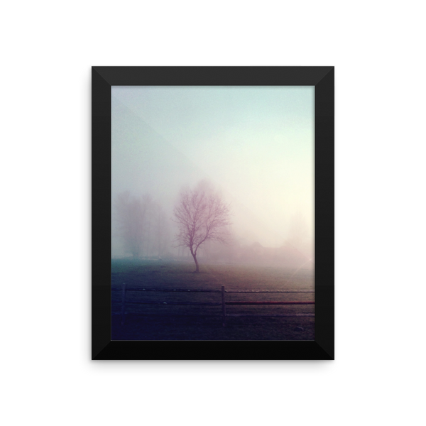 Framed Print - vintage lomo processed lonely tree