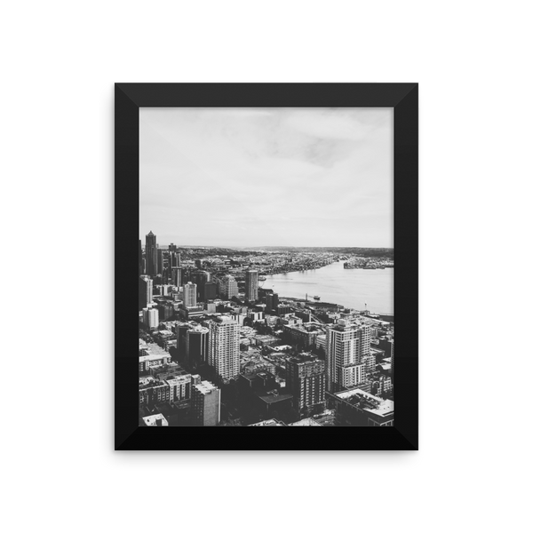 Framed B+W print of the Seattle skyline
