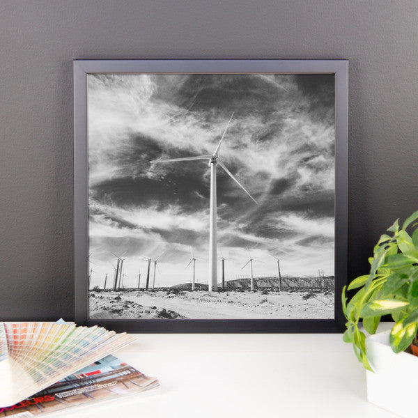 "B+W Framed Print - ""Towering Windmills"""