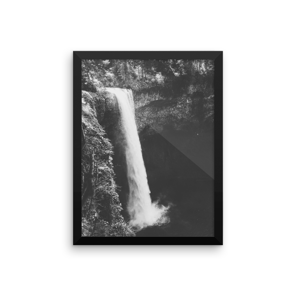 Framed B+W photo print of an Oregon waterfall