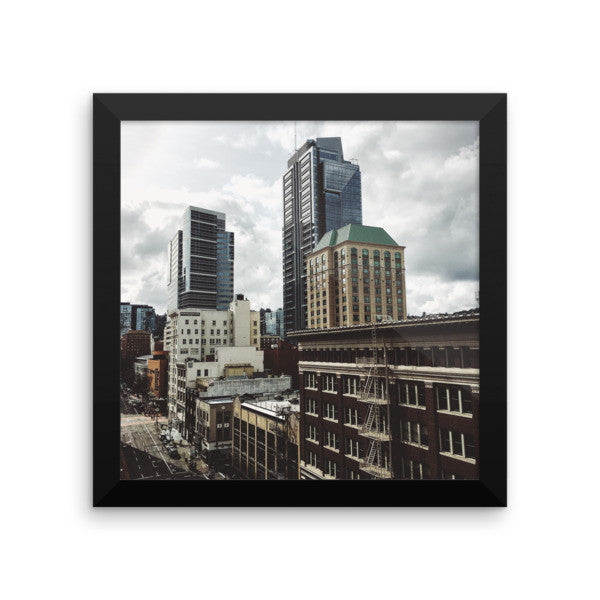 "Framed ""Downtown PDX"" print"