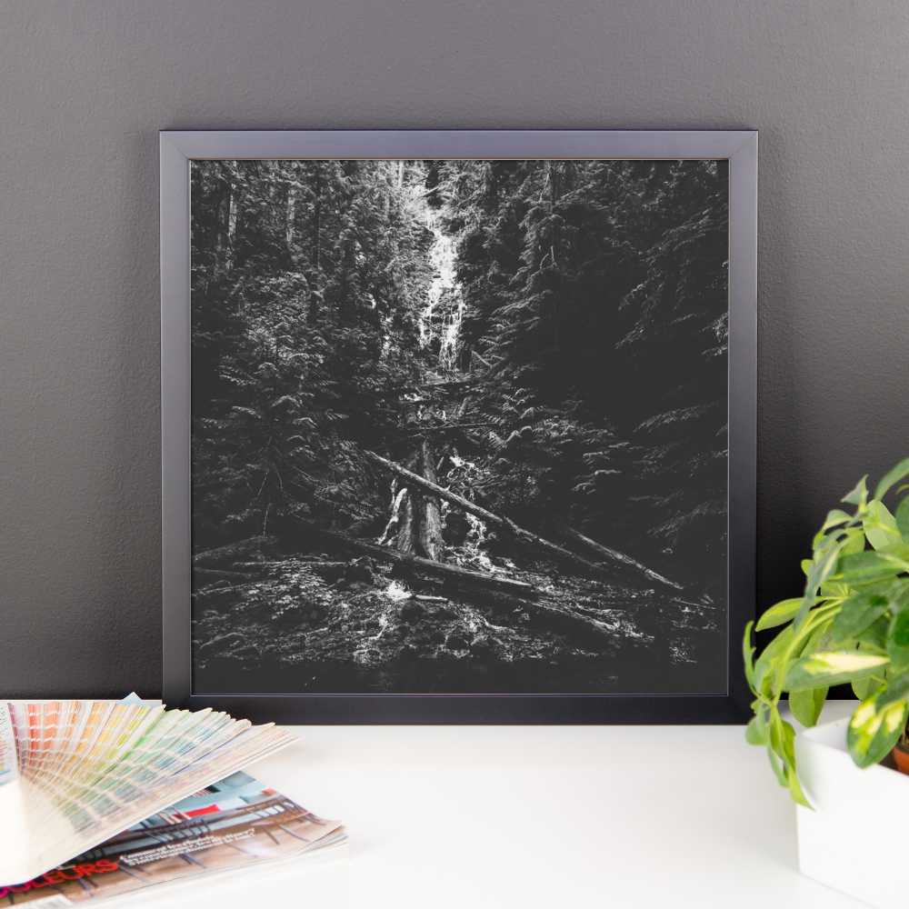 Framed photo print of a mysterious waterfall in Oregon
