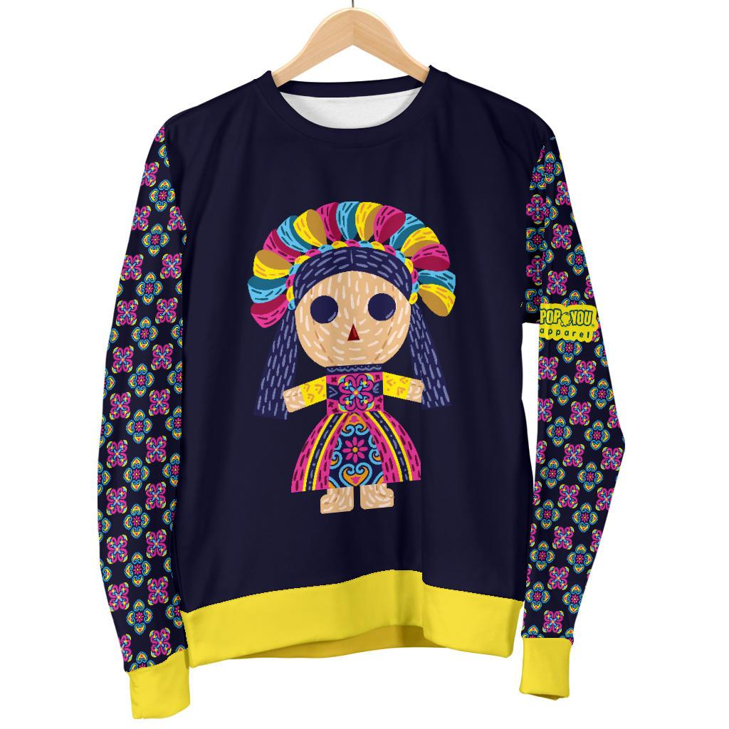 Maria Mexican Doll Folk Art Woman Sweater - Pop You