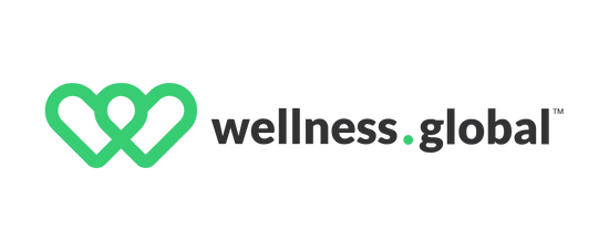 wellness.global green overlapping double heart logo