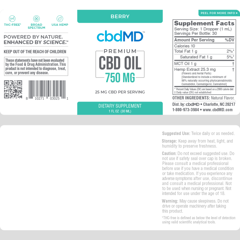 CBD Oil Tincture | Berry | 750MG | 30ML - wellness.global