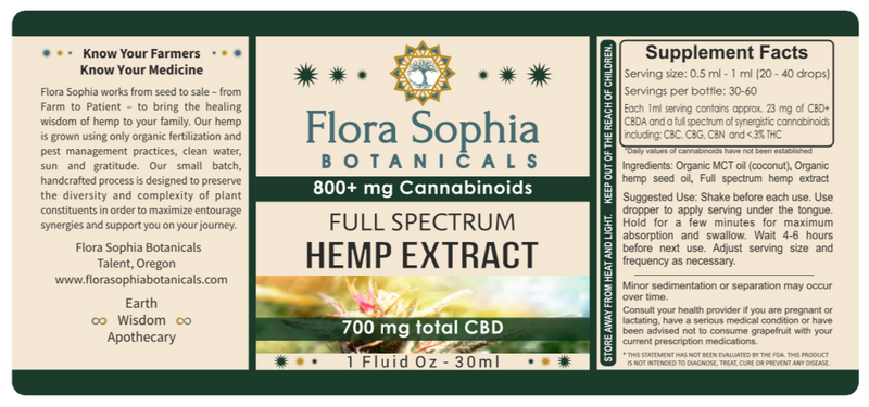 CBD Oil |Total Cannabinoid Full Spectrum Hemp Extract | 800mg