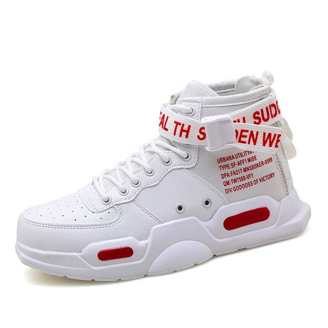 Mens Chunky Hi-Tops - White/Red