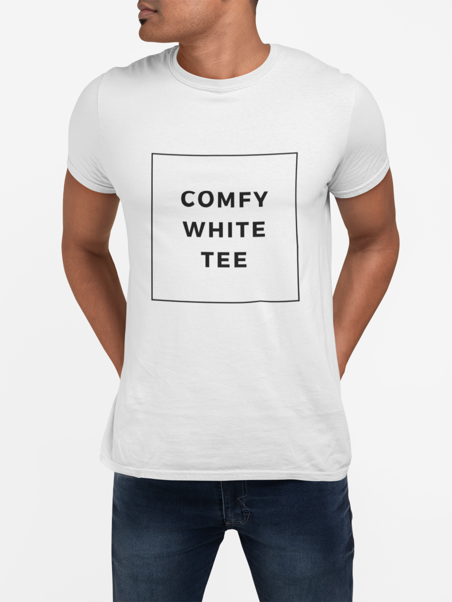 Men's Comfy White Crew Neck Tee