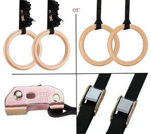Wood Olympic Gymnastic Rings with Adjustable Straps
