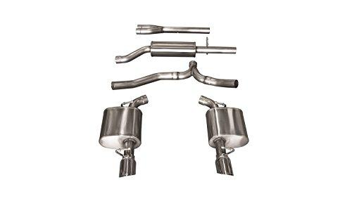 Corsa Performance 14476 Sport Cat-Back Exhaust System Dual Rear Exit 2.5 in. Dia. Incl. Mufflers/Pipes/Clamps/Single 4 in. Polished Pro-Series Tips Sport Cat-Back Exhaust System