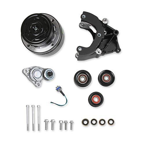 Holley 20-140BK LS A/C Accessory Drive Kit - Includes R4 A/C Compressor, Tensioner, Pulleys- Black Finish