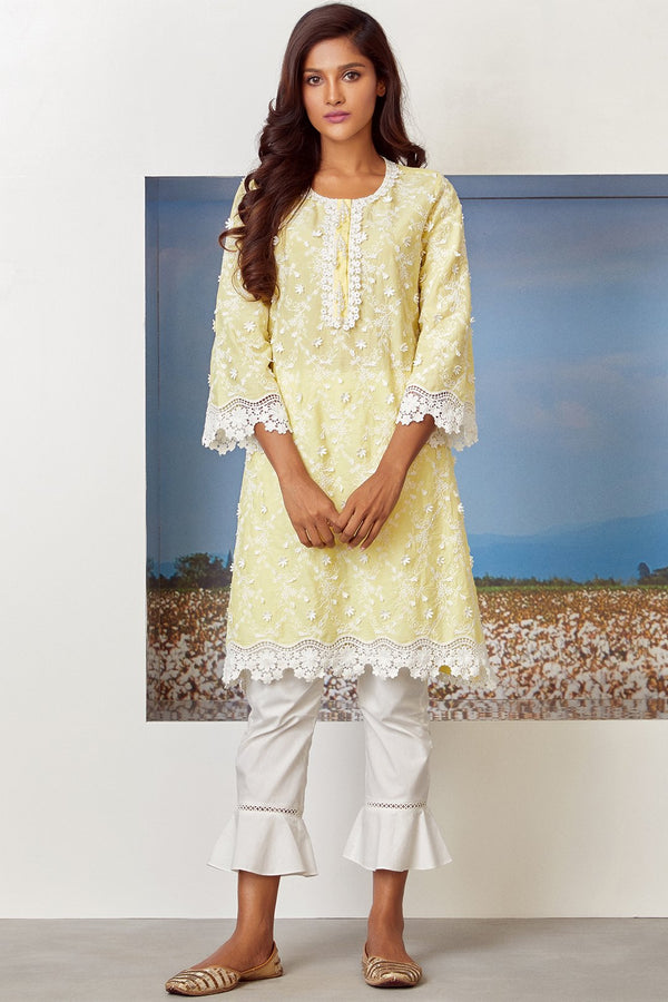Mulmul Cotton BAYBREEZE KURTA With UMBRELLA FRILL PANT