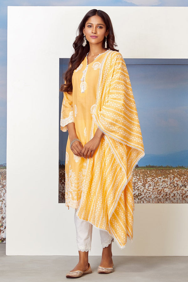 Mulmul Cotton DREAMSCAPE KURTA With ROUNDED HEM PANT