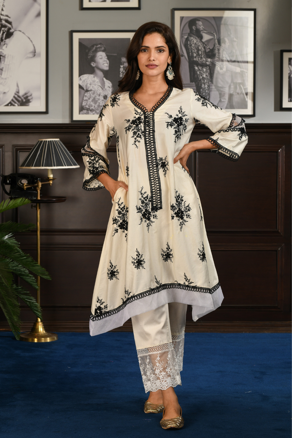 PIMA SATIN GAIL KURTA With GAIL PANT