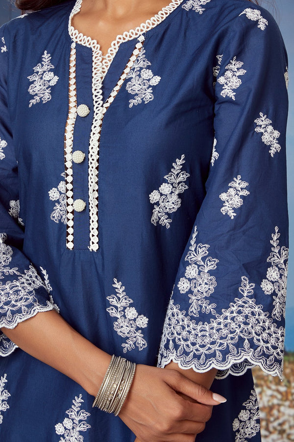 Mulmul Cotton MOON LIGHT KURTA With FLORAL ORGANZA PANT