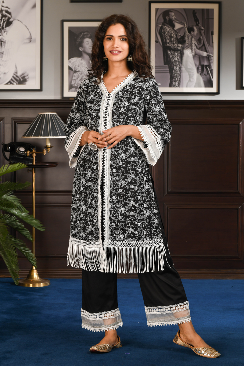 PIMA SATIN RAFA KURTA With RAFA PANT