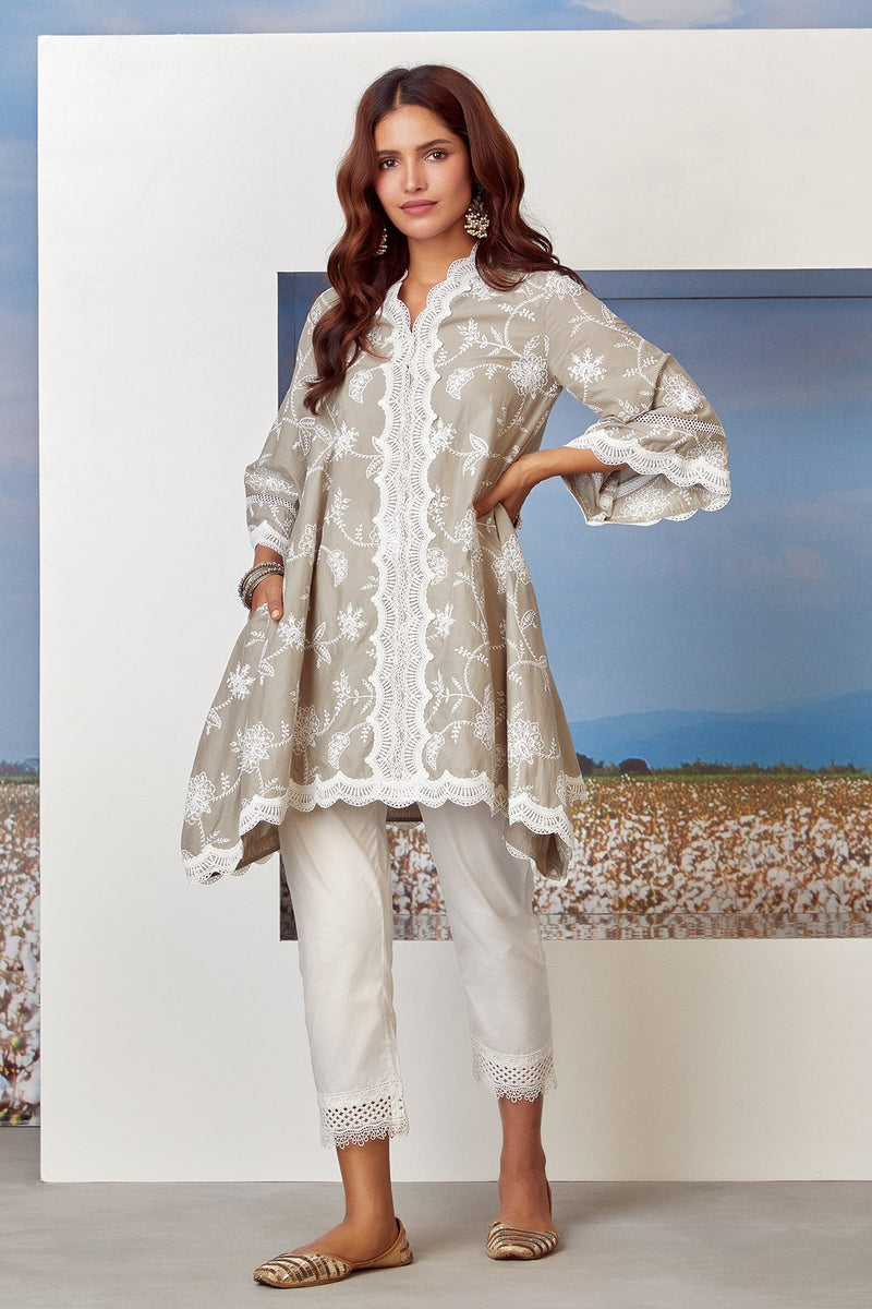 Mulmul Cotton TIFFANY KURTA With SAGE PANT