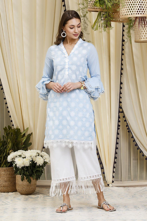 Daffodil  kurta blue with new poppy pants  white