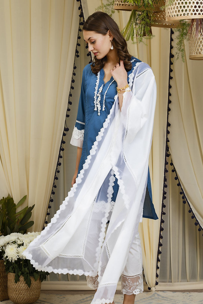Mulmul cotton Orchid  kurta with embroidered  organza pants