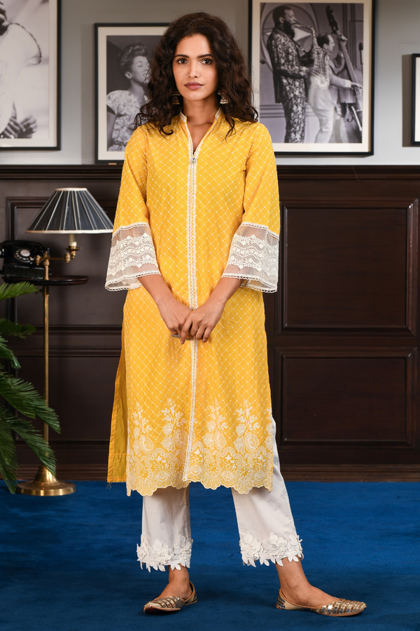 Mulmul Cotton Cayo yellow kurta with hibiscus pants