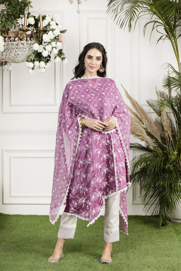 Full embroidered Chanderi Dupatta
