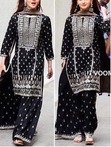 Scenic Black Color Georgette Fabric Thread Embroidered Semi Stitched Kurta Plazo Suit For Women
