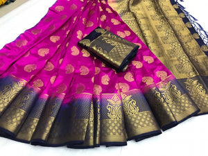 Surpasing Magenta Color Nylon Silk Rich Pallu Saree Blouse For Wedding Wear