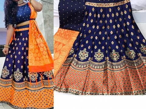 Orange Banarasi Silk Bridal Wear Lehenga
