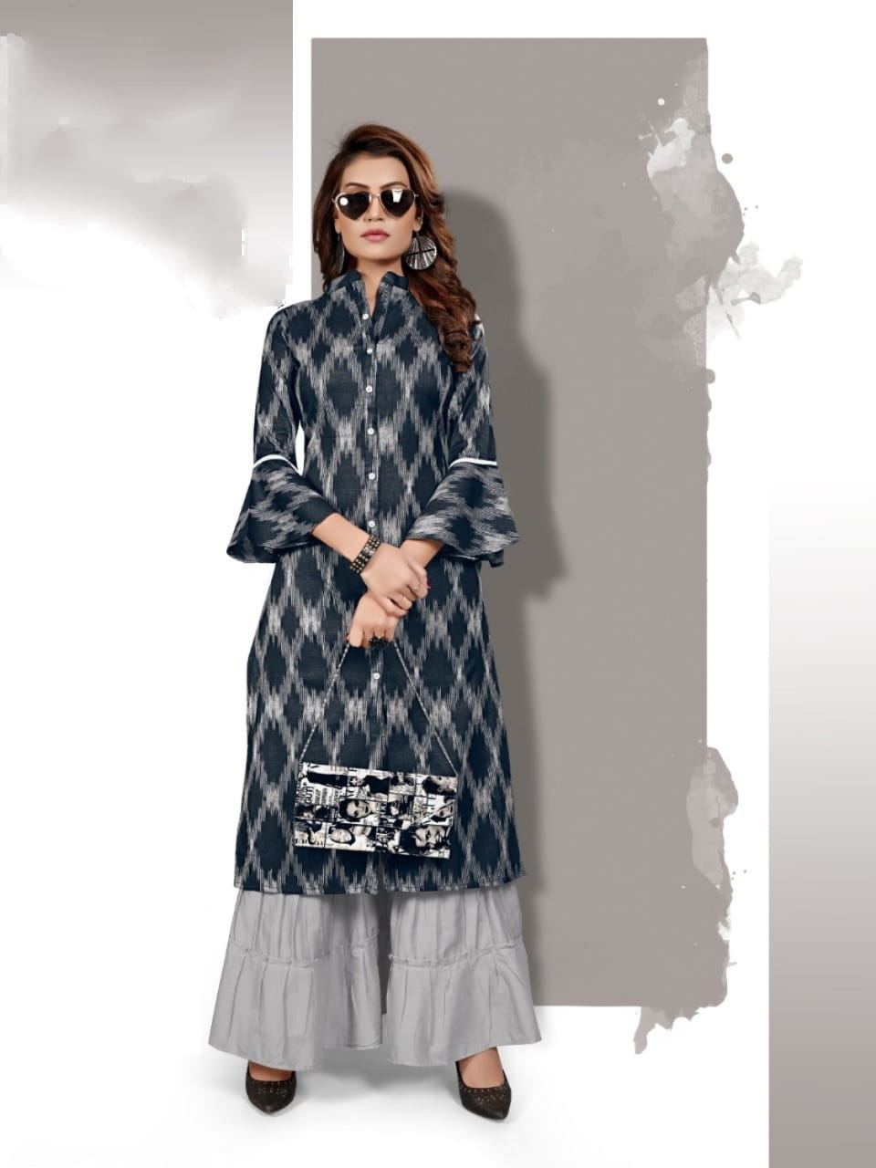 Black Grey Cotton Printed Sharara Kurti Design Online ARYA127B