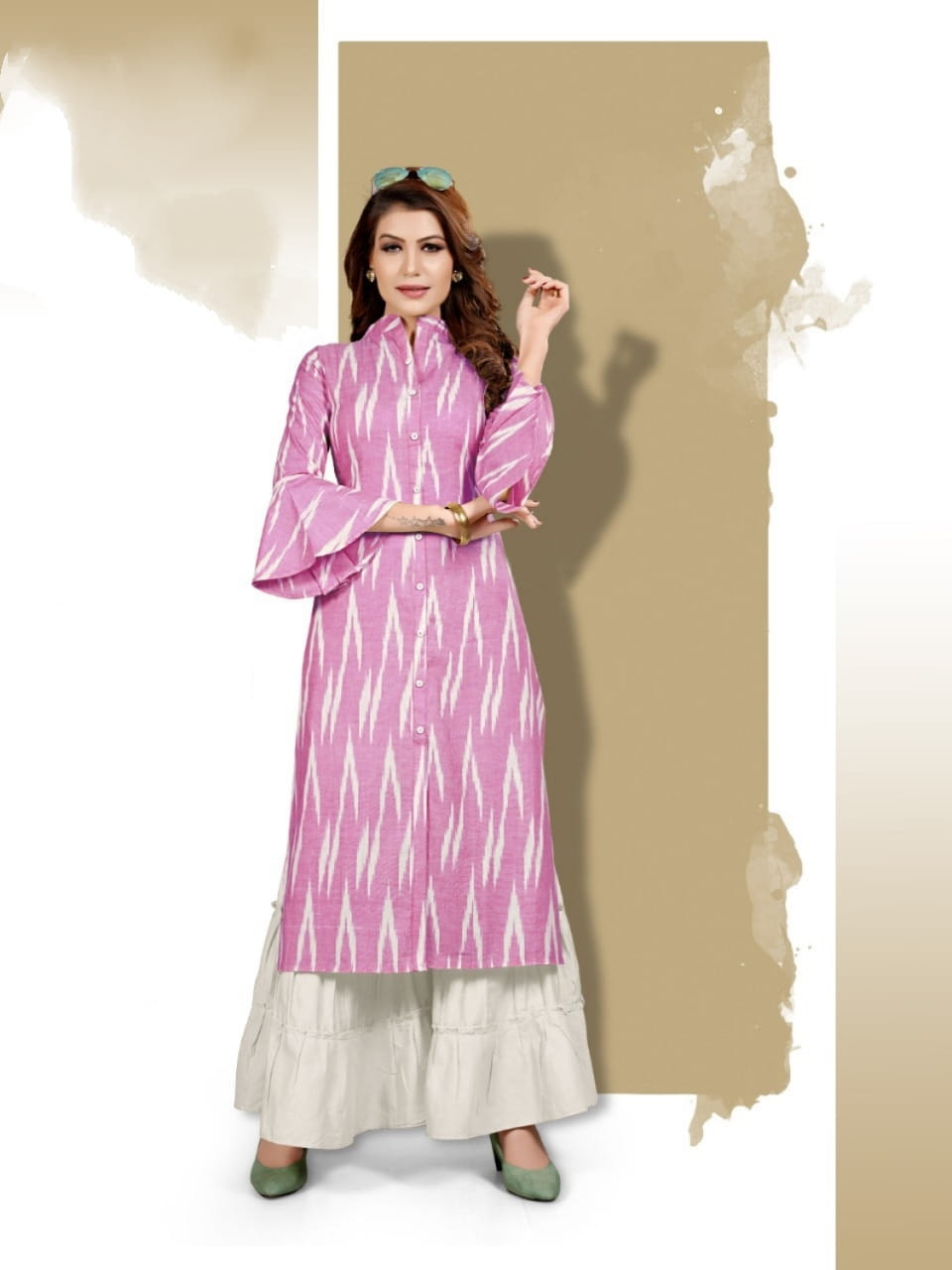 Noble Pink White Cotton Digital Printed Sharara Fancy Kurti For Women ARYA127C