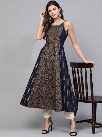 Grand Navy Blue Strappy Printed Ready Made Kurti AVADH1060103G