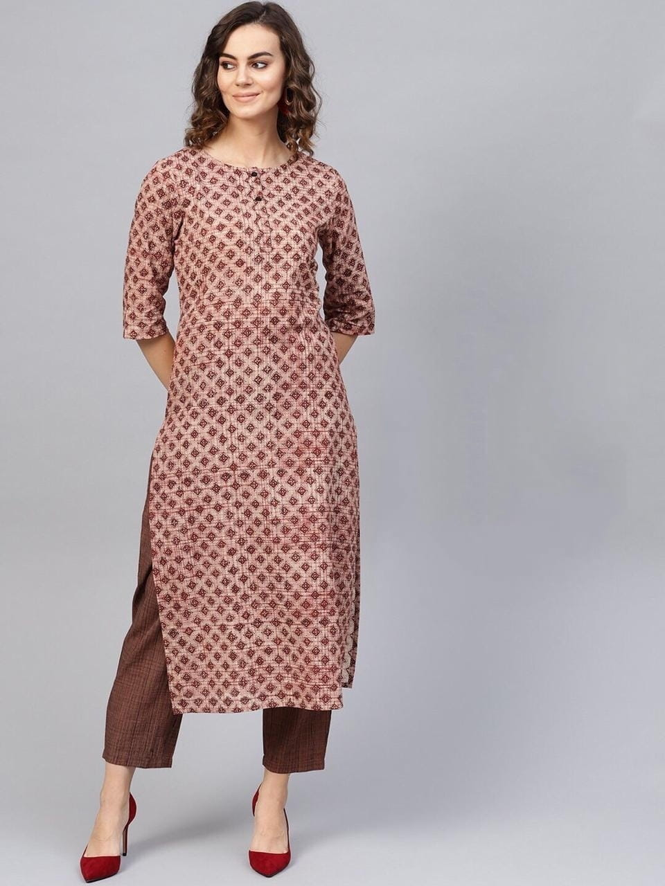 Brown Printed Full Stitched Plazo With Kurti AVADH1060104I