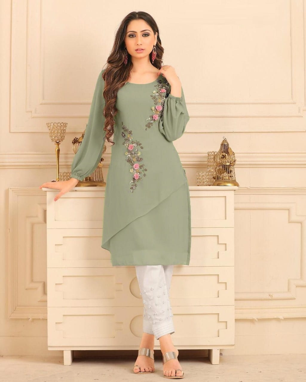 Light Green Color Straight cut Tunic with overall pearl work with Glamours Sleeves Pair with Cigarette Pants