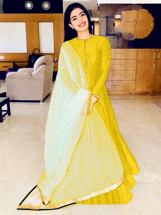 Attractive Yellow Banglori Silk With Lining Gown for Party Wear