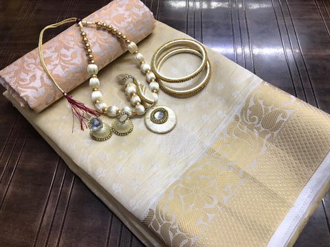 Wonderful Cream Tusser Silk Saree With Necklace Bangles Earings Set for Party Wear