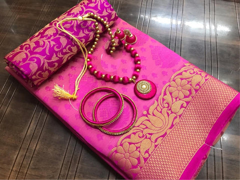 Magnificent Rani Colored Tusser Silk Saree With Earings Necklace Bangles Set for Party Wear