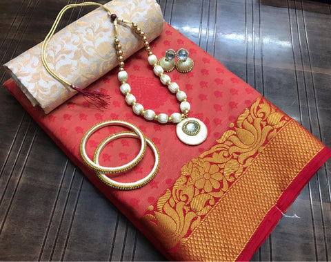 Glorious Maroon Silk Tusser Saree With Necklace Earings Bangles Set for Party Wear