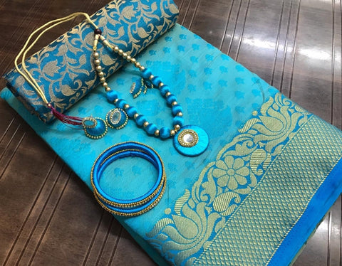 Bewitching Sky Blue Tusser Silk Saree With Necklace Earings Bangles Set for Party Wear