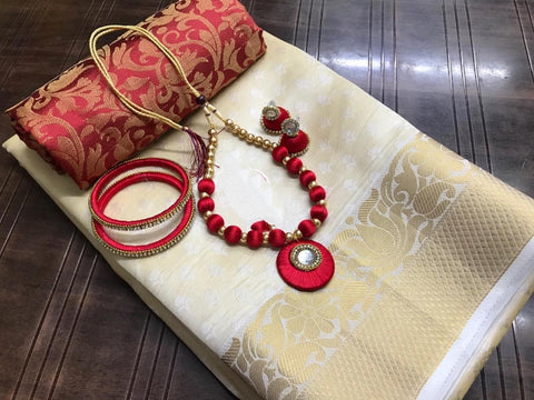 Charming Cream & Maroon Tusser Silk Saree With Bangles Necklace Earings Set for Party Wear
