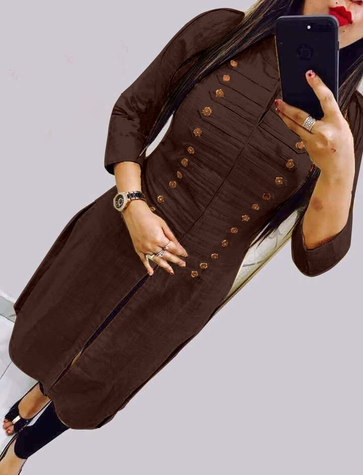 Party Wear Coffee Color Party Wear Rayon Selfie Stitched Kurti For Women