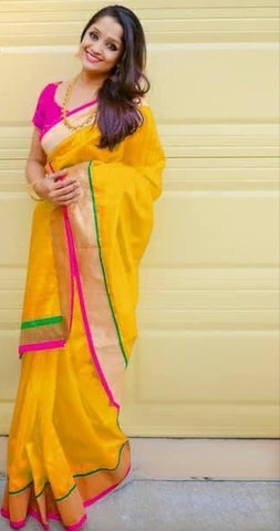 Fabulous Yellow Designer Chanderi Silk Party Wear Saree for Party Wear