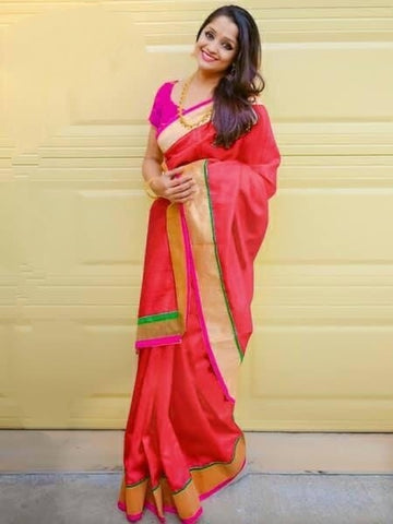 Fab Majesty Red Colored Chanderi Silk Plain Saree for Party Wear