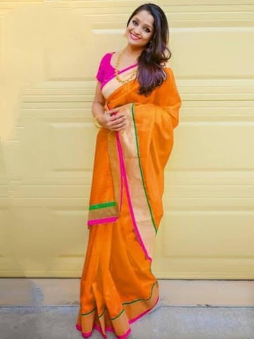 Super Mustard Colored Chanderi Silk Plain Saree for Party Wear