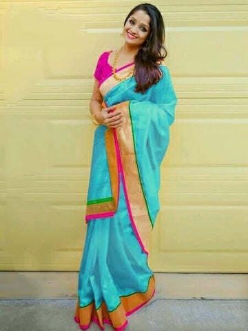 Beautiful Sky Blue Chanderi Silk Plain Saree for Party Wear