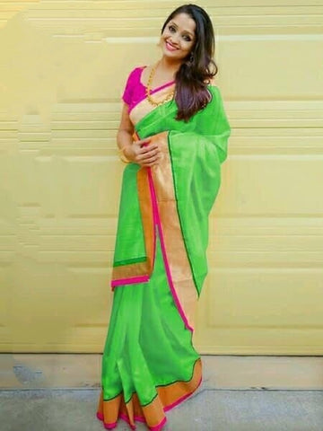 Attractive Green Chanderi Silk Plain Saree for Party Wear